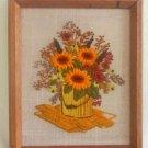 Vintage Mid Century Modern Modernist Sunflowers Needlework Paint Can Flowers