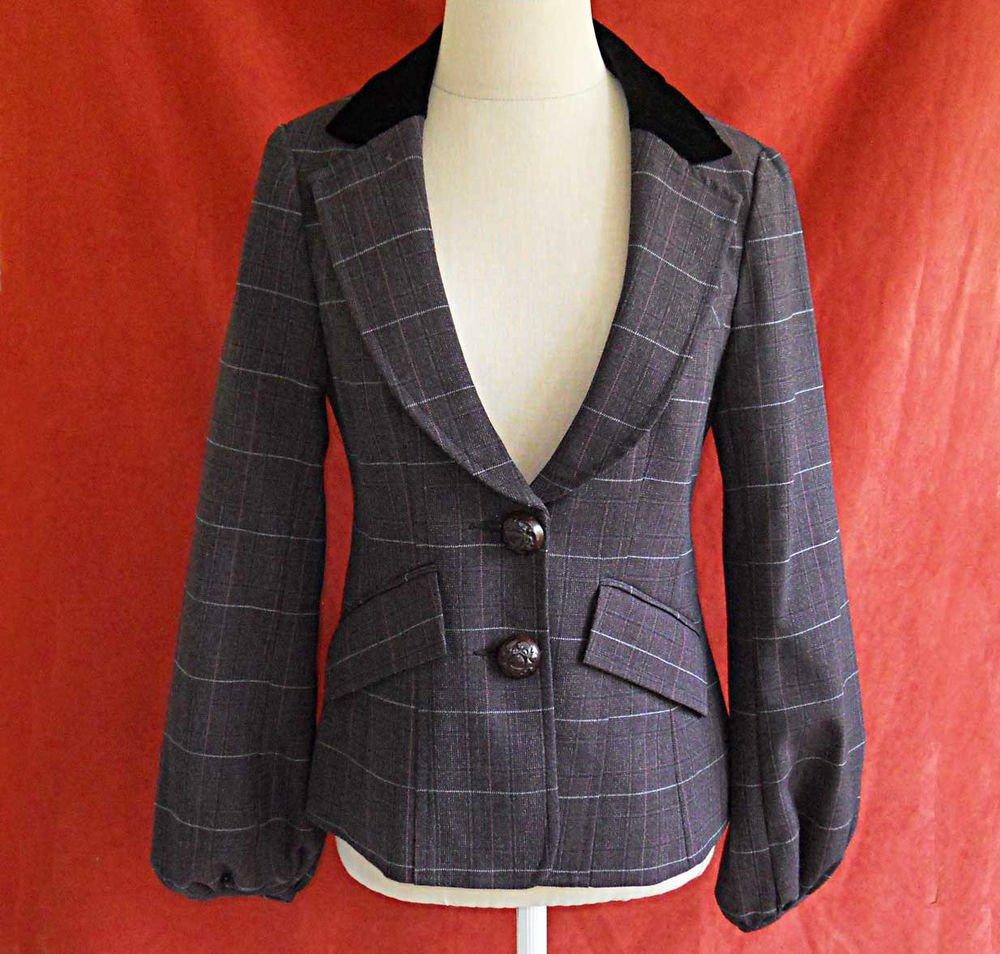 Nanette Lepore Vintage Deadstock Jacket Blazer Trophy Velvet Collar NOS  6
