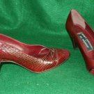 Mr Seymour Stuart Weitzman Vintage 70s Double Snakeskin Pumps Cut Out Vamp Cone