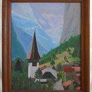Zermatt Switzerland Vintage Painting Alpine Mountain Summer Alps Plein Air SID
