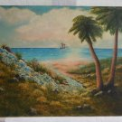 Vintage 50s Original Oil Painting Romantic Tropical South Seas Island K Kurtz