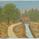 Vintage Original Painting New England Covered Bridge Plein Air Scott 1981