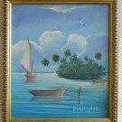 Tropical Original Vintage Painting P Pablo Mendez 96  Island Boats Marine Frame