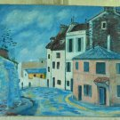 Tuscan Vintage Moderne Oil Painting Tuscany Italy Gelateria Modernist Village