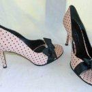 Beverly Feldman Peep Toe Pumps Shoes Big Bow Pink Black Polka Dot Low Cut 10