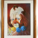 Modernist Original Oil Painting Vintage Circus Clown Performer White Face Dyrke
