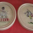 Vintage Mid Century Modern Needlepoint Set Framed Pair French Court Costumes