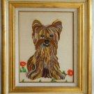 Vintage Needlework Yorkie Yorkshire Terrier Dog  Gilded Italian Tole Frame Huge