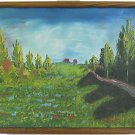 Tuscan Vintage Painting Landscape Tuscany Summer Tree Lined Hill Path Villa Gino