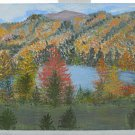 Vintage Western Folk Art Painting Mountain Rocky Fall Foliage River J Wood