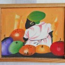 Vintage Original Haitian Painting Pierre Woman Fruit Tropical Small Jewel Like