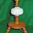 Vintage Mid Century Modern Antique Lamp Milk Glass Turned Wood Tripod Americana