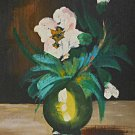 Robert White Painting Vintage Impressionist Still Life Flowers Hibiscus Framed