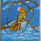 Vintage Original Folk Art Naive Painting Wild Parrot Bird Ornithology CL Ramirez