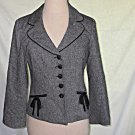 Nanette Lepore Jacket Blazer Victorian Inspired Grey Silk Wool Tweed Nos Sexy 4