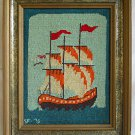 Vintage Needlepoint Mayflower Modernist Folky Marine SF 76 Ship Pilgrims Framed