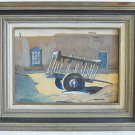Vintage Original Painting Santa Fe Cart New Mexico Adobe Helen McPherson 74