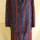 Silk Pajama Look Suit Vintage 70s Nos Hermitt Jacket Midi Skirt Mixed Print  12