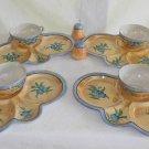 Antique Lusterware Hand Painted Gold Blue Flowers Tea Lunch Set Art Deco Japan