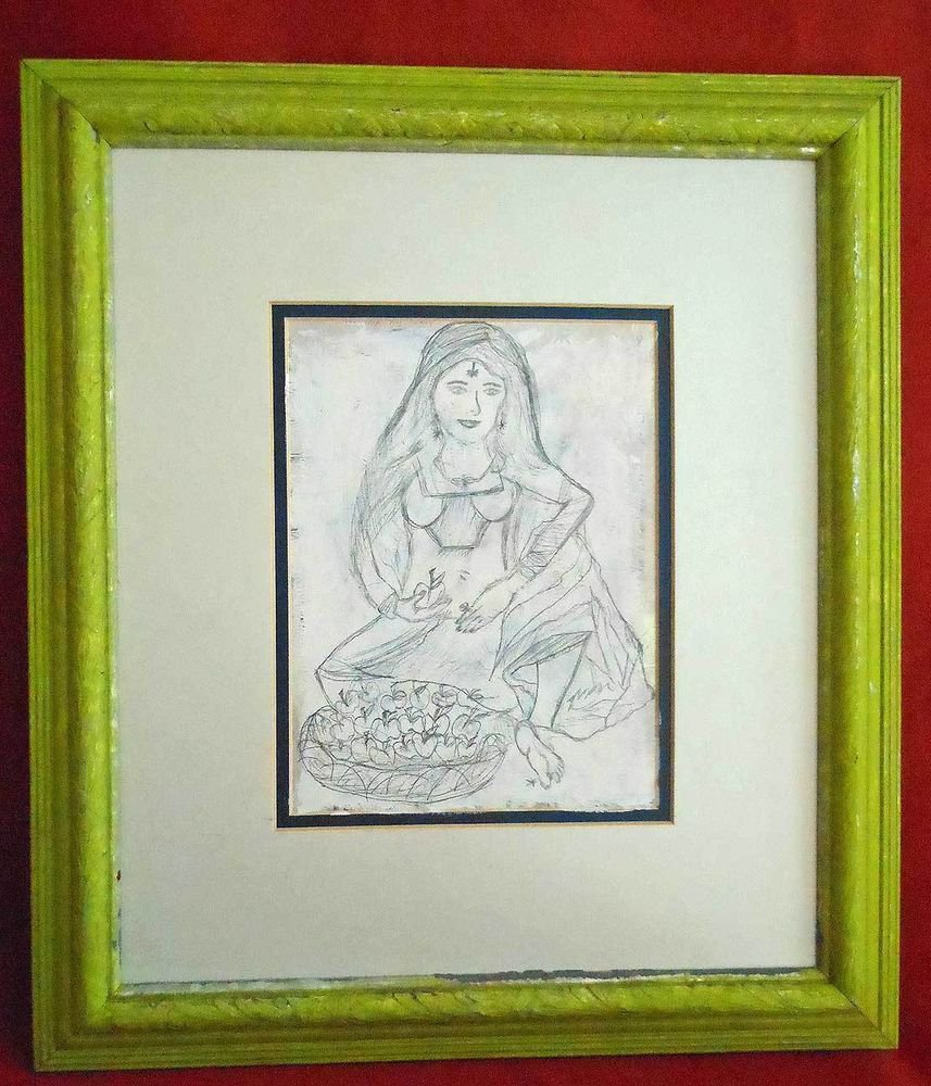 Vintage Outsider Art Pencil Drawing Apple Seller Indian Woman Beauty Framed