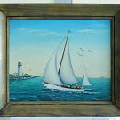 Vintage Artist Signed Marine Painting Snyder Sailboat Yacht Lighthouse US Flag