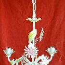 Vintage Italian Tole Chandelier Flowers Pink Daisies Matching White Ceiling Cap