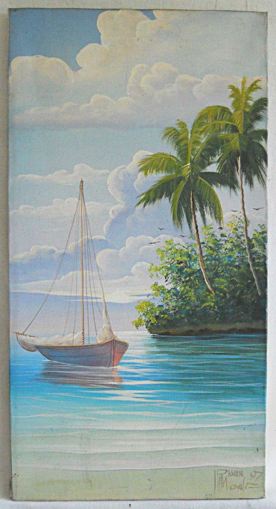 Tropical Seascape Vintage Painting Ramon Mendez 97 Sailboat Marine Exotic Island