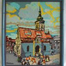 Vintage Needlepoint St Mark Church Zagreb Yugoslavia  Faux Painted Bamboo Frame