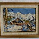 Vintage Needlepoint Swiss Alpine Chalet Snow Winter Landscape Mountain Framed