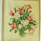 Painting Antique Art Deco 1930s Flowers Pink Roses Flora Romantic Watercolor SUE