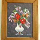 Vintage Oil Painting Still Life Urn Spring Flowers Thompson Purple Background