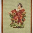Vintage Classical Dutch Needlepoint Portrait Romantic Costume Boy in Red Velvet