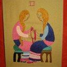 Needlework Gemini Zodiac Folk Art Moderne Pillow Vintage Mid Century Madonnas