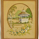 Vintage Needlework Landscape Lush Garden Gazebo Daisy Flowers Silvia 81 Framed