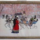Vintage Needlework Winter Snow Sled City Victorian Horses Nostalgia Framed