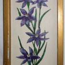 Asters Vintage Original Oil Painting Rustic Country Folk Art Purple Flora Framed