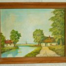 Dutch Landscape Original Vintage Oil Painting Windmill Canal Ocean Houses Whitey