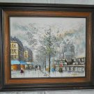 Impressionist Vintage Oil Original Painting Paris Left Bank Book Sellers Framed