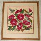 Ornithology Needlepoint Vintage Antique Hibiscus Flowers Tropical Hummingbirds