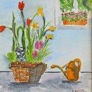 Vintage Original Watercolor Painting Tulips Window Still Life M Retchkiman