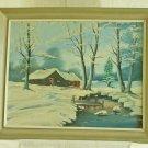 Canadian Snow Landscape Vintage Original Oil Painting Large Cabin Snow Winter