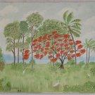 Vintage Folk Painting Florida Everglades Egrets Ornithology Flamboyant Dryer