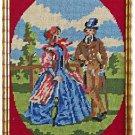 Vintage Needlepoint Victorian Couple Gilded Gold Wood Frame Romantic Regency