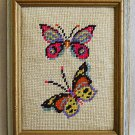 Vintage Needlepoint Butterflies Italian Tole Painted Wood Frame Regency Gilded
