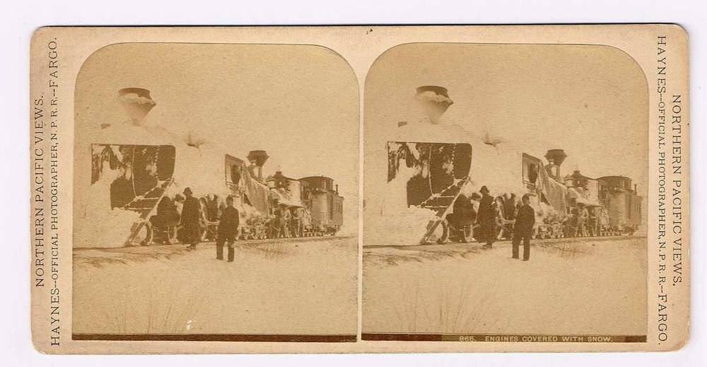 Stereoview Locomotive Haynes 865 Close View Engineers Engines Covered With Snow