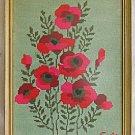 Poppies Vintage Needlepoint Red Poppy Flowers Botanical Modernist Tole Frame SM