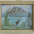 Vintage Painting Folk Art Naive Snow Western Landscape Deer Mountain J Wood