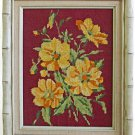 Vintage Needlepoint Yellow Flowers Floral Botanical Cream Faux Bamboo Wood Frame