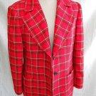 Casor Tartan Trophy Jacket Blazer Boyfriend Nos Deadstock Wool Plaid Red Sexy 8