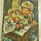 Original Painting Vintage Moody Marianne Boy Girl Studies Playtime Propaganda